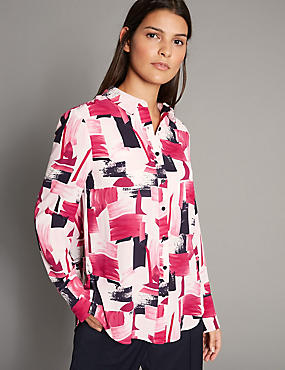 Geometric Print Long Sleeve Shirt, PINK MIX, catlanding