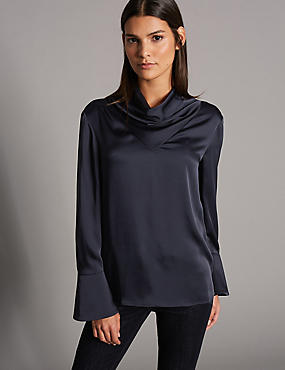 Cowl Neck Long Sleeve Blouse, NAVY, catlanding