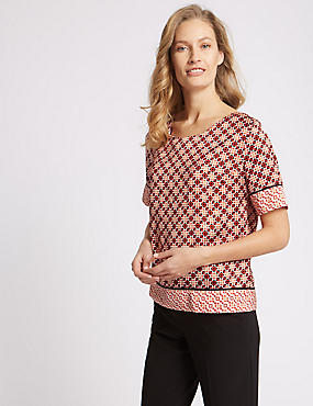 Printed Double Layer Half Sleeve Blouse  , RED MIX, catlanding