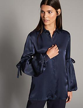 Satin Bell Sleeve Shirt, NAVY, catlanding