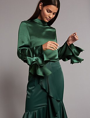 Funnel Neck Ruffle Sleeve Blouse, BOTTLE GREEN, catlanding