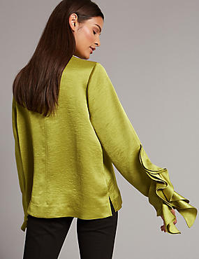 Funnel Neck Ruffle Sleeve Blouse, CHARTREUSE, catlanding