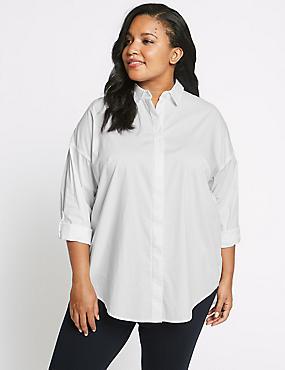 CURVE Cotton Rich Curve Long Sleeve Shirt, WHITE, catlanding
