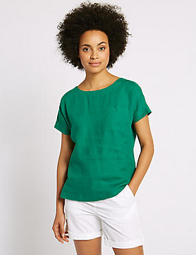 Pure Linen Short Sleeve Shell Top, GREEN, catlanding