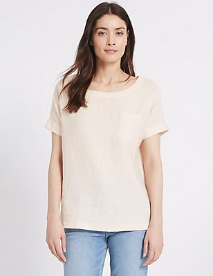 Pure Linen Short Sleeve Shell Top, PALE PINK, catlanding