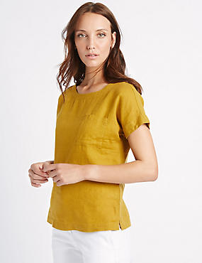 Pure Linen Short Sleeve Shell Top, ANTIQUE BRASS, catlanding