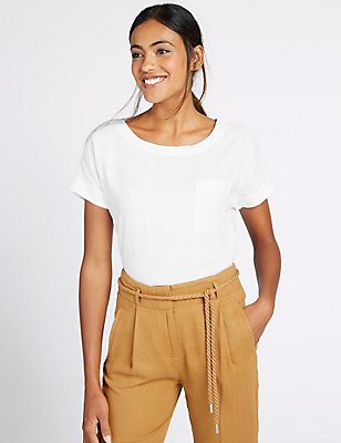 Pure Linen Short Sleeve Shell Top, WHITE, catlanding