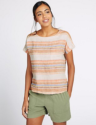 Pure Linen Striped Short Sleeve Shell Top, MULTI, catlanding