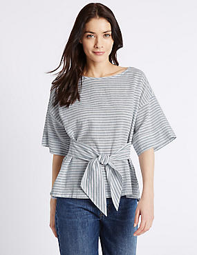 Linen Rich Striped Tie Front Shell Top, BLUE MIX, catlanding