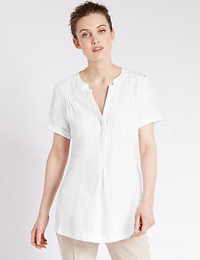 Pure Linen Short Sleeve Tunic, WHITE, catlanding