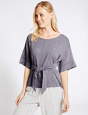 Linen Rich Tie Front Half Sleeve Shell Top, CHAMBRAY, catlanding