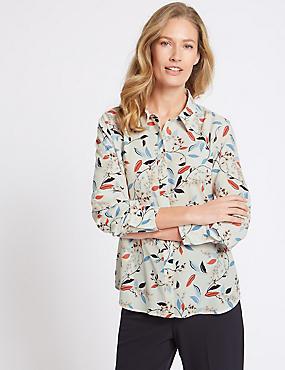 Floral Print Long Sleeve Shirt , CREAM MIX, catlanding