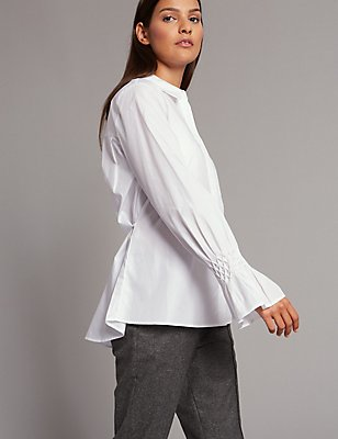 Pure Cotton Long Sleeve Shirt, WHITE, catlanding