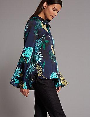 Floral Print Satin Flute Sleeve Shirt, NAVY MIX, catlanding