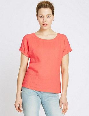 Pure Linen Shell Top, CORAL, catlanding