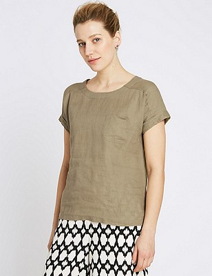 Pure Linen Shell Top, OLIVE, catlanding