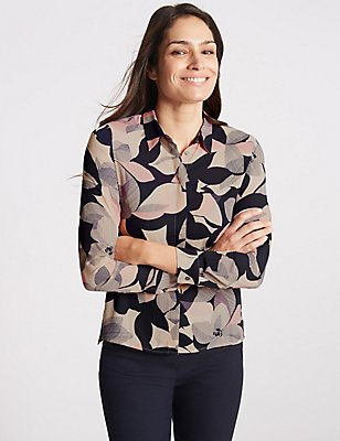 Floral Print Long Sleeve Shirt, MULTI, catlanding