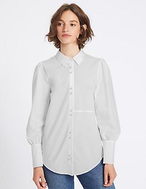 Cotton Blend Bubble Sleeve Shirt, WHITE, catlanding