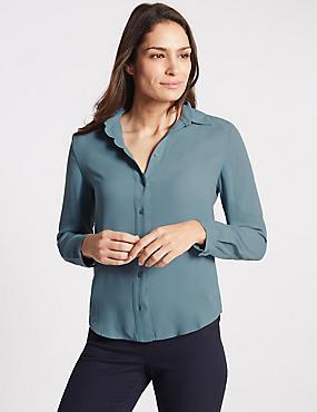 Scallop Edge Long Sleeve Shirt, TEAL, catlanding