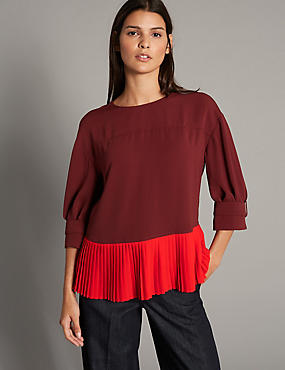 Pleated Round Neck 3/4 Sleeve Blouse, RED MIX, catlanding