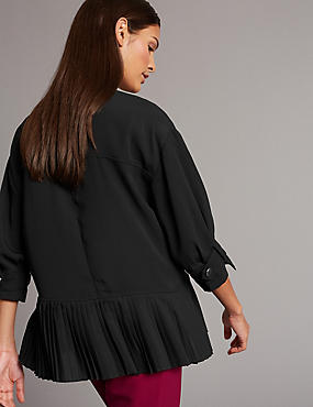 Pleated Round Neck 3/4 Sleeve Blouse, BLACK/WHITE, catlanding