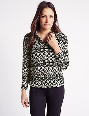 Printed Long Sleeve Blouse, BLACK/WHITE, catlanding