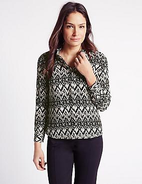Printed Long Sleeve Blouse, BLACK/WHITE, catlanding