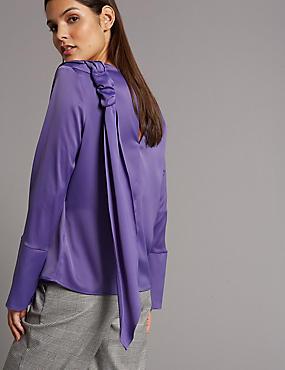 Drape Shoulder Long Sleeve Shell Top, PURPLE, catlanding