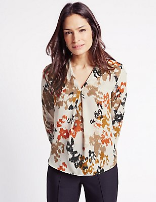 Printed V-Neck Long Sleeve Shell Top, MULTI, catlanding