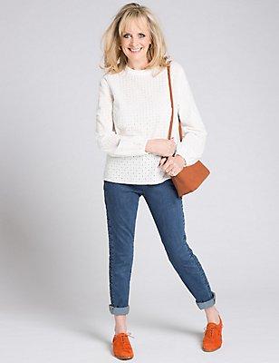 Pure Cotton High Neck Long Sleeve Tunic, CREAM, catlanding