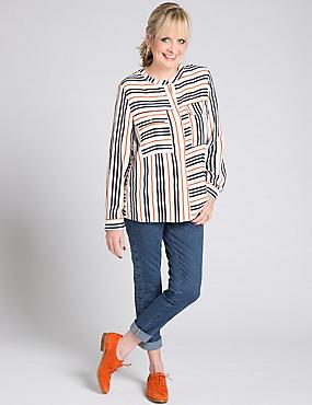 Striped Long Sleeve Shirt, CREAM MIX, catlanding