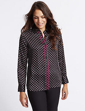 Satin Spot Print Long Sleeve Shirt, BLACK MIX, catlanding