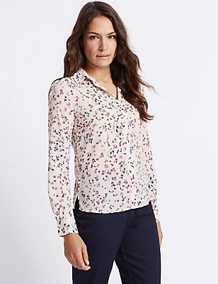 Floral Print Long Sleeve Shirt, IVORY MIX, catlanding