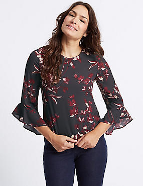 Floral Print Slash Neck 3/4 Sleeve Blouse, PURPLE MIX, catlanding