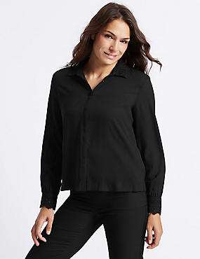 Embellished Collar Long Sleeve Shirt , BLACK, catlanding