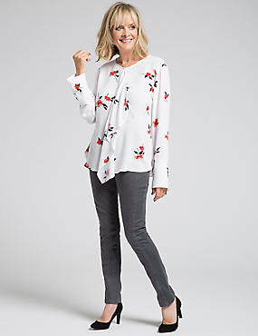 Floral Print Frill Front Long Sleeve Blouse, IVORY MIX, catlanding