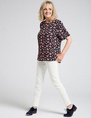 Floral Print Kimono Short Sleeve Shell Top, NAVY MIX, catlanding