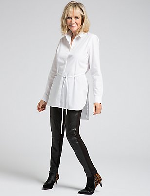 Pure Cotton Long Sleeve Longline Shirt, WHITE, catlanding