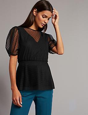 Mesh Round Neck Half Sleeve Blouse, BLACK, catlanding