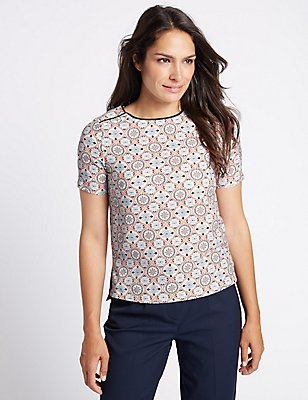 Geometric Print Short Sleeve Shell Top, IVORY MIX, catlanding