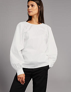 Pure Cotton Pleated Long Sleeve Blouse, SOFT WHITE, catlanding