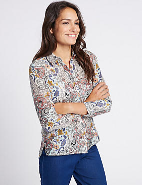 Cotton & Silk Blend Paisley Print Shirt, IVORY MIX, catlanding