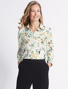 Floral print Crepe Long Sleeve Shirt, CREAM MIX, catlanding