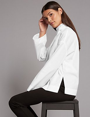 Pure Cotton Funnel Neck Long Sleeve Blouse, WHITE, catlanding