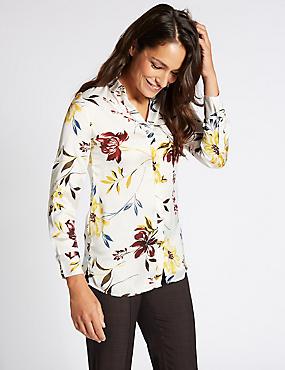 Floral Print Satin Long Sleeve Shirt, IVORY MIX, catlanding