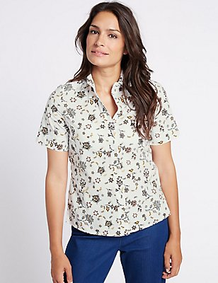 Pure Cotton Printed Short Sleeve Shirt, WHITE MIX, catlanding