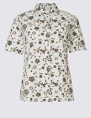 Pure Cotton Printed Short Sleeve Shirt, WHITE MIX, catlanding