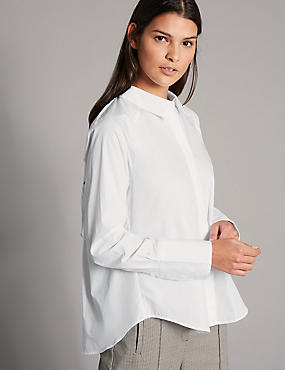 Pure Cotton Ruched Poplin Long Sleeve Shirt, SOFT WHITE, catlanding