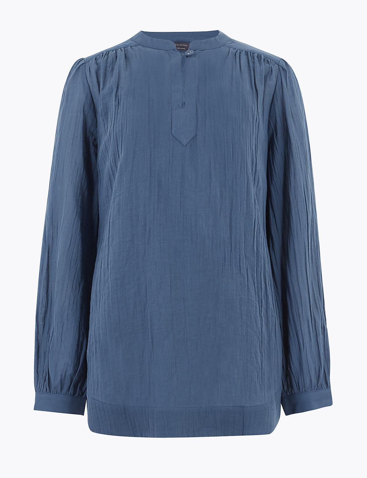 Удлиненная блузка из чистого хлопка с воротником-стойкой