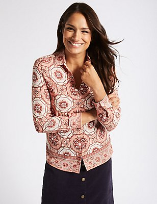 Printed Long Sleeve Shirt, PINK MIX, catlanding